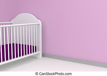 nursery 3d render with space for message