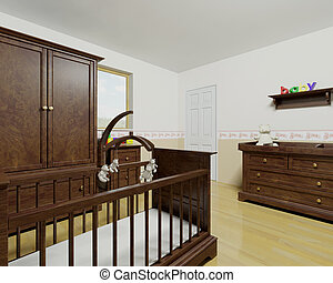 Nursery interior with wooden furniture