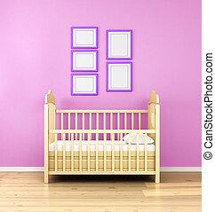 nursery., overzicht., render., frontaal, interieur, 3d