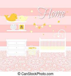 Nursery room with furniture. Baby interior.