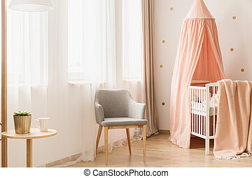 Nursery room with windows