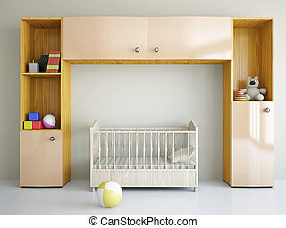 Nursery with a bed - Nursery with toys and the bed near a...