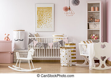 Poster Babykamer Pastel : Nursery with golden dots poster baby nursery with a crib and