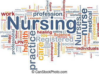 Background concept wordcloud illustration of nursing