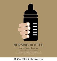 Hand Holding Nursing Bottle Vector Illustration.