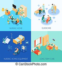 Nursing Care Concept Isometric Icons - Nursing home...