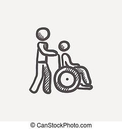 Nursing care sketch icon