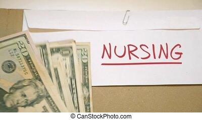 NURSING costs concept - USD bills on NURSING cash envelope
