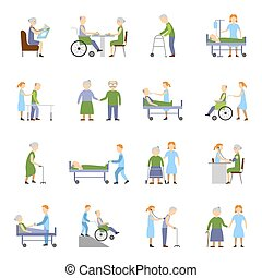 Nursing Elderly People Icons Set - Nursing elderly people...
