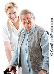 nursing - health care worker and senior woman