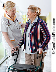 nursing - health care worker and senior woman