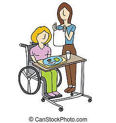 Nursing Home Care - An image of a woman feeding a nursing...