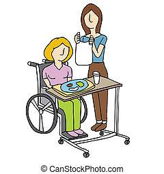 Nursing Home Care - An image of a woman feeding a nursing...