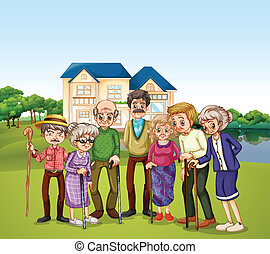 Nursing home - Illustration of elderly at the nursing home