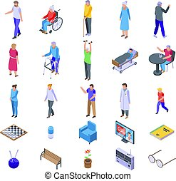 Nursing home icons set. Isometric set of nursing home vector icons for web design isolated on white background