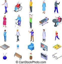 Nursing home icons set. Isometric set of nursing home vector icons for web design isolated on white background