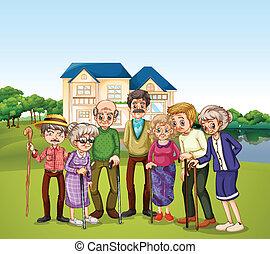 Nursing home - Illustration of elderly at the nursing home