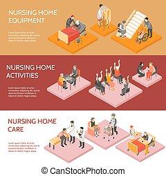 Nursing Home Isometric Horizontal Banners - Nursing home 3...