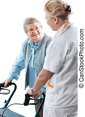 nursing home - Health care worker and senior patient