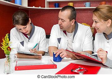 nursing staff makes coffee break