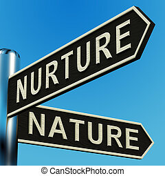 Nurture Or Nature Directions On A Signpost - Nurture Or...