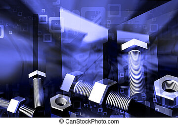 3d rendering of nut and bolt in digital color background