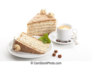 nut cake with coffee isolated on white background