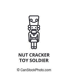 nut cracker, toy soldier line icon, outline sign, linear symbol, vector, flat illustration