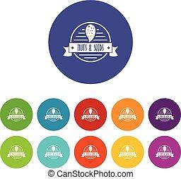 Nut emblem icons set vector color
