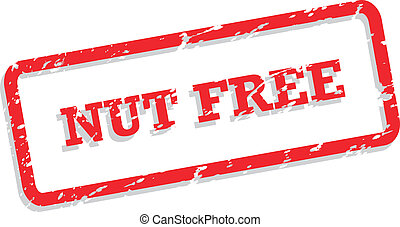 Nut Free Rubber Stamp - Red rubber stamp vector for nut free...