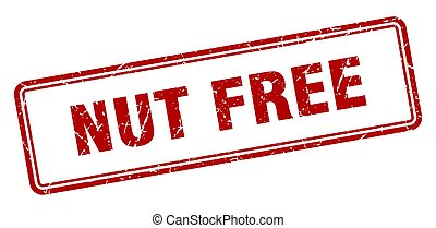 nut free stamp. square grunge sign on white background