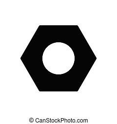 nut glyph flat icon