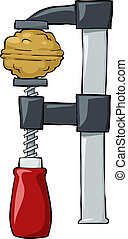 Nut in clamp on a white background, vector