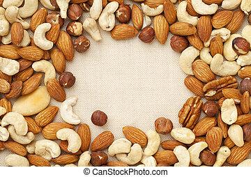 nut mix (walnut, almond, brazilian, hazelnut, cashew) on canvas with a copy space