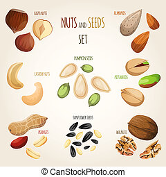 Nut mix set - Nuts and seeds mix decorative elements set ...