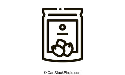 nut package Icon Animation. black nut package animated icon on white background