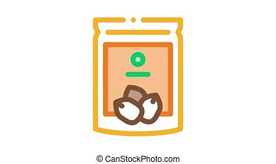 nut package Icon Animation. color nut package animated icon on white background