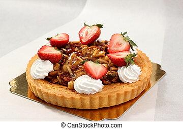 nut pie ontop cream and fresh strawberry - A nut pie ontop...