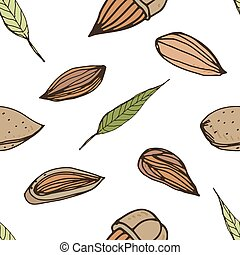 Nut seamless on white background. Hand drawn colorful pattern with almond.