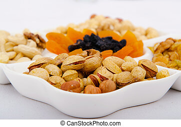 Nut selection served in the plate