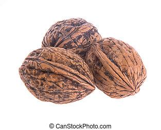nut. walnut on the background.