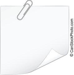 nuta, biały, wektor, papier, paperclip