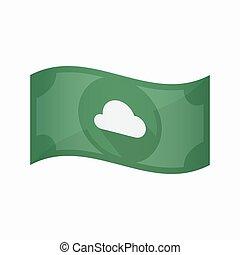 nuta, chmura, odizolowany, bank