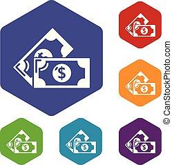 nuta, hexahedron, wektor, bank, ikony