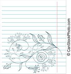 nuta, kwiatowy, rys, papier