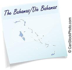 nuta, mapa, Bahama, lepki