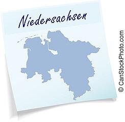 nuta, mapa, niższy,  Saxony, lepki