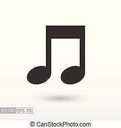 nuta, płaski, icon., znak, muzyka