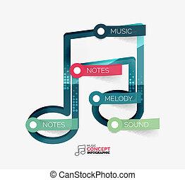 nuta, płaski, pojęcie, muzyka, infographic