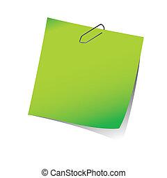 nuta, przypomnienie, papier, zielony, zacisk